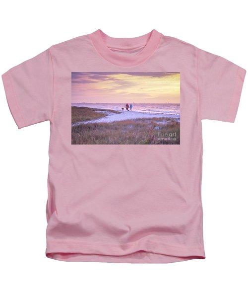 Sunrise Stroll On The Beach Kids T-Shirt