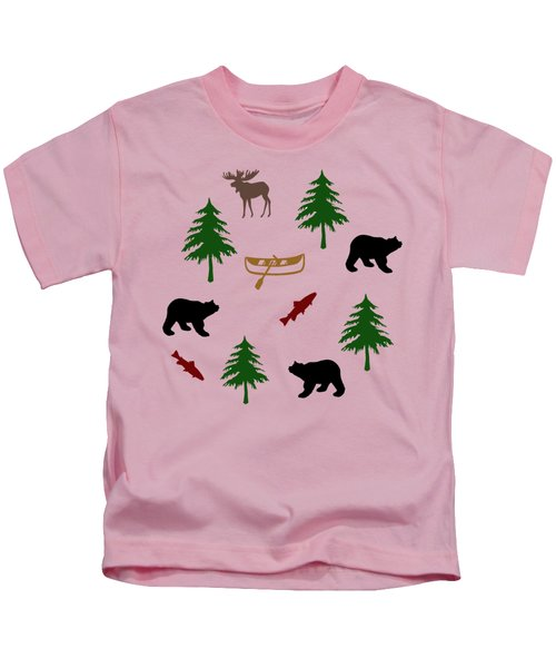 Kids T-Shirt featuring the mixed media Bear Moose Pattern by Christina Rollo