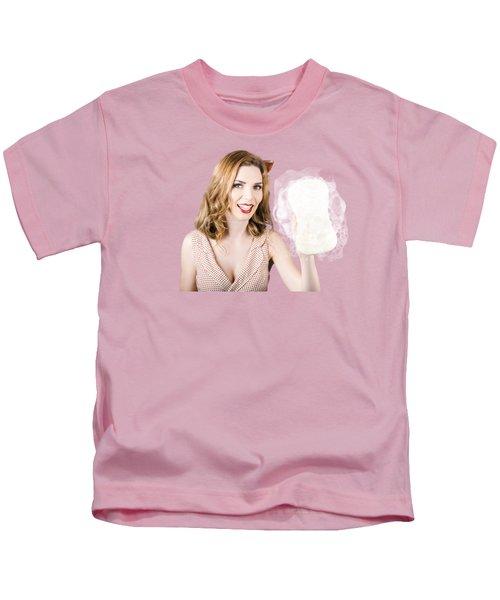 Beautiful Pin Up Girl With Car Wash Sponge Kids T-Shirt
