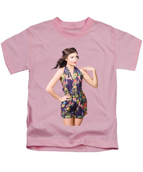 Beautiful Retro Model In Sleeveless Retro Fashion Kids T-Shirt