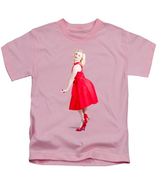 Beautiful Woman Model In Red Dress And High Heels Kids T-Shirt
