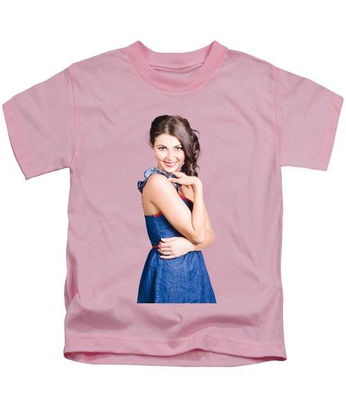 Beautiful Woman Wearing Denim Dress Retro Fashion Kids T-Shirt