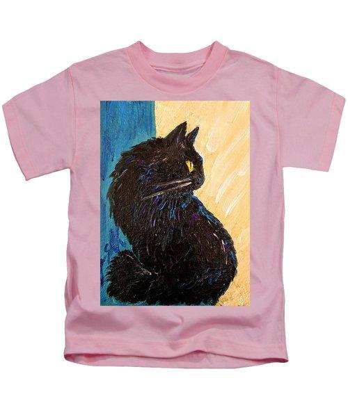 Black Cat In Sunlight Kids T-Shirt