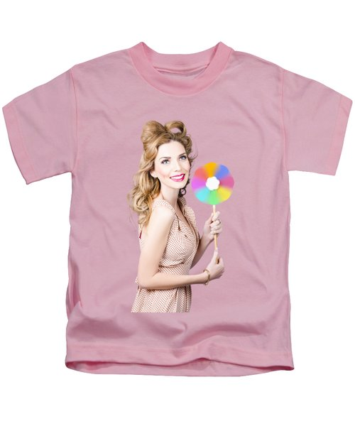 Blonde Girl Holding Windmill Fan. Natural Energy Kids T-Shirt