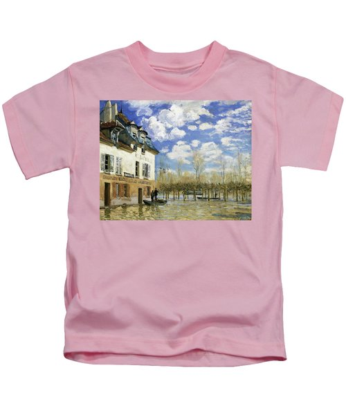 Boat In The Flood At Port Marly - Digital Remastered Edition Kids T-Shirt