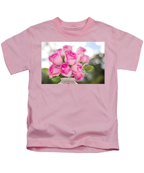 Bouquet Of Pink Roses Kids T-Shirt