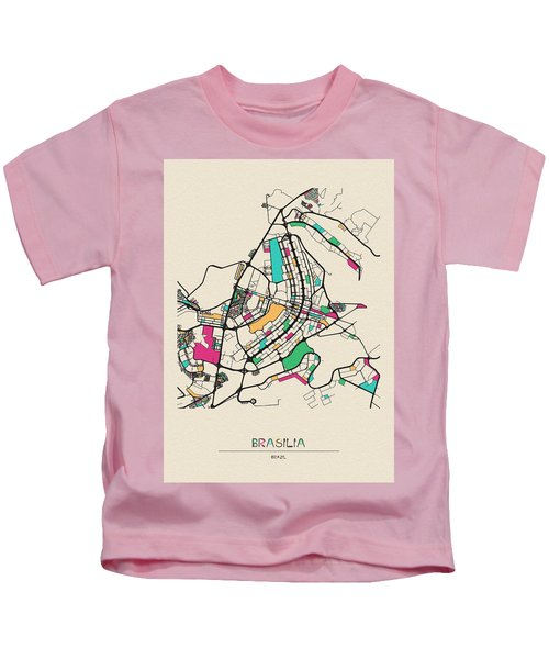 Brasilia, Brazil City Map Kids T-Shirt