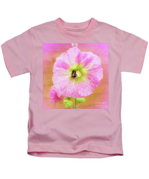 Bumblebee Snacking Delicate Hollyhock Kids T-Shirt