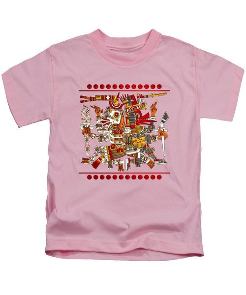 Codex Borgia - Aztec Gods - Mictlantecuhtli God Of Death With Quetzalcoatl Wind God On Vellum Kids T-Shirt