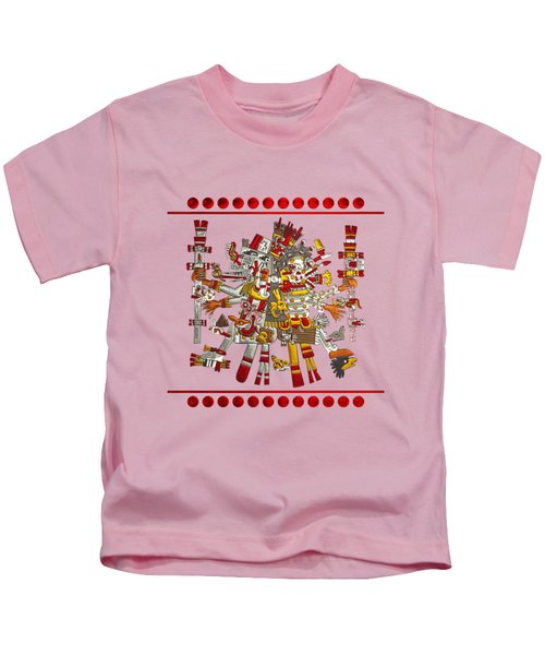Codex Borgia - Aztec Gods - Quetzalcoatl Wind God With Mictlantecuhtli God Of Death On Vellum Kids T-Shirt