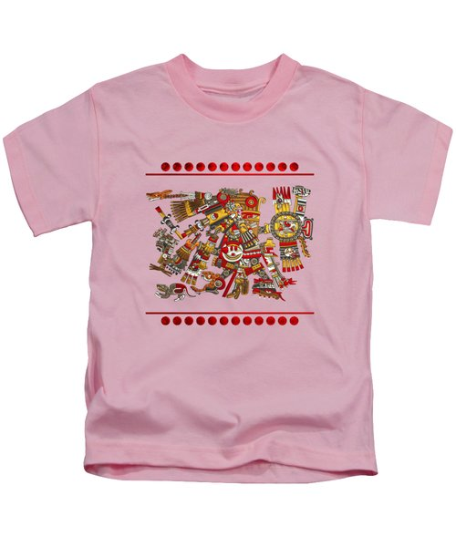 Codex Borgia - Aztec Gods - Tezcatlipoca - Smoking Mirror On Vellum Kids T-Shirt