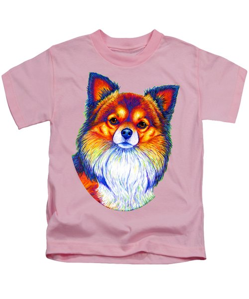 Colorful Long Haired Chihuahua Dog Kids T-Shirt