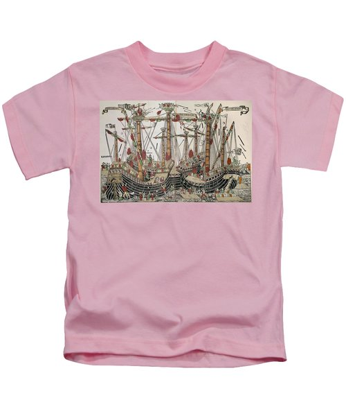 Copper-engraving The Battle Of Zonchio 1499. Kids T-Shirt