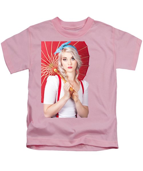 Dreamy Blond Pin Up Woman With Parasol. Old Style Kids T-Shirt