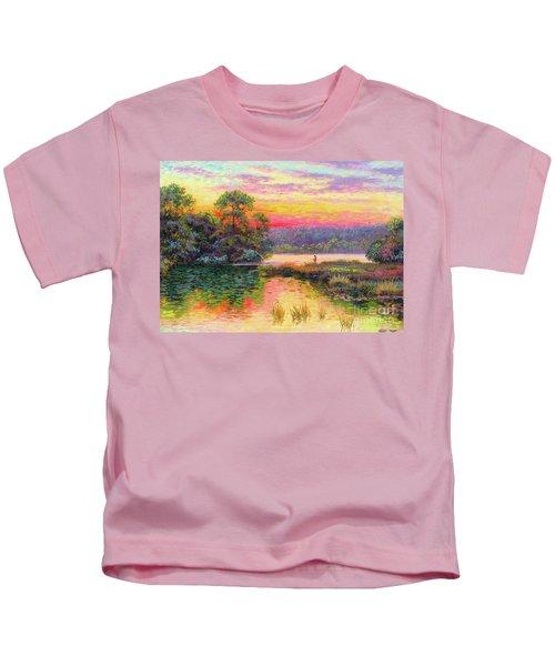 Fishing In Evening Glow Kids T-Shirt
