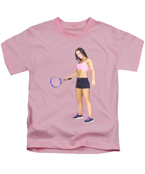Fit Active Female Sports Person Playing Tennis Kids T-Shirt