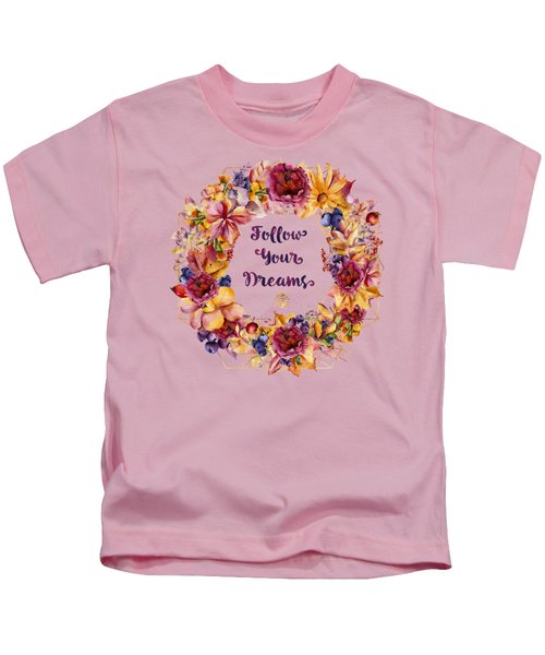 Follow Your Dreams Autumn Floral Wreath Lady Bug Typography Art Kids T-Shirt