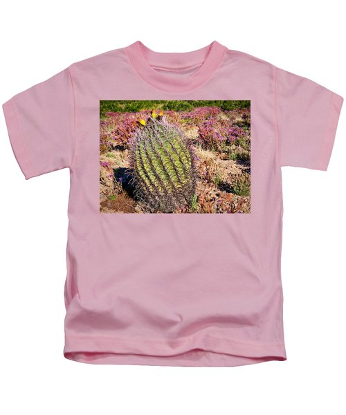 Kids T-Shirt featuring the photograph Fruit-bearing Barrel Cactus In Desert Rhubarb by Judy Kennedy