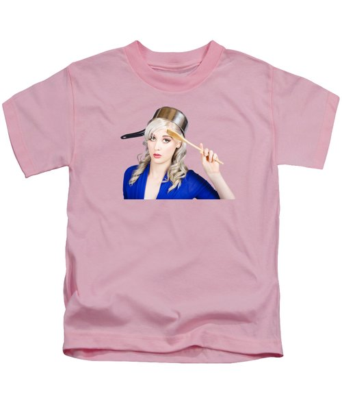 Funny Pin Up Housewife Saluting For Cooking Duties Kids T-Shirt