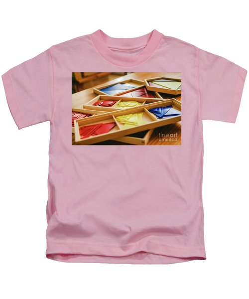 Geometric Material In Montessori Classroom For The Learning Of Children In Mathematics Area. Kids T-Shirt