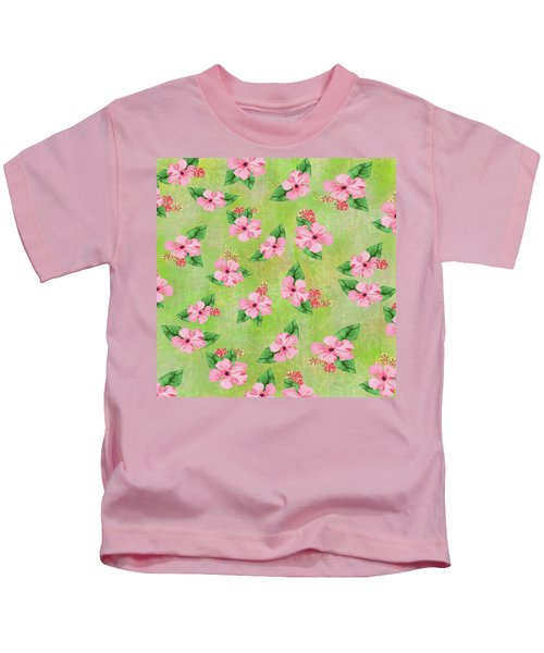 Green Batik Tropical Multi-foral Print Kids T-Shirt