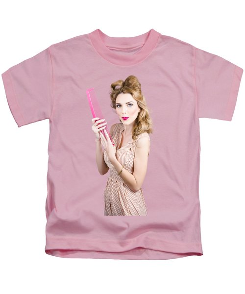 Hair Style Model. Pinup Girl With Large Pink Comb Kids T-Shirt