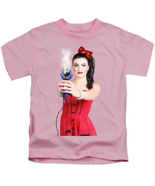 Hairdresser Woman Shooting A Cool Haircut In Style Kids T-Shirt