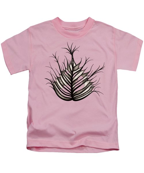 Hairy Leaf Abstract Art In Sepia Kids T-Shirt