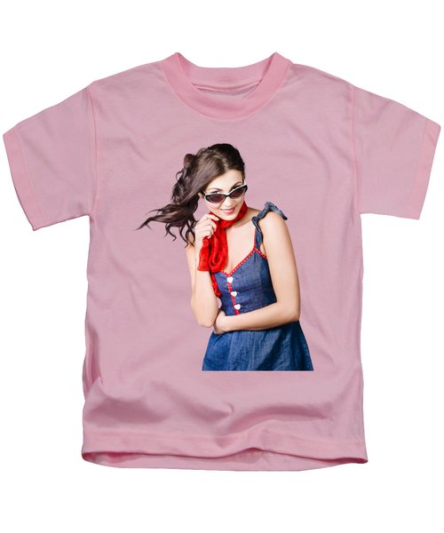 Happy Smiling Young Pinup Girl In Rockabilly Style Kids T-Shirt
