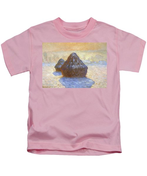 Haystacks, Snow Effect - Digital Remastered Edition Kids T-Shirt