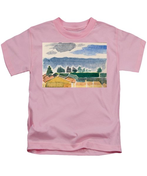 Houses, Trees, Mountains, Clouds Kids T-Shirt
