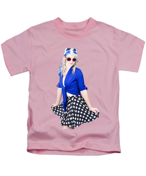 Isolated Pin-up Woman Posing Kids T-Shirt