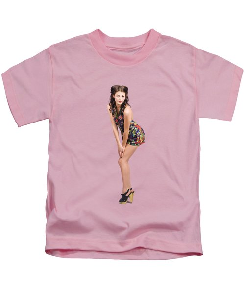 Isolated Portrait Of A Lovely Retro Pin Up Woman  Kids T-Shirt