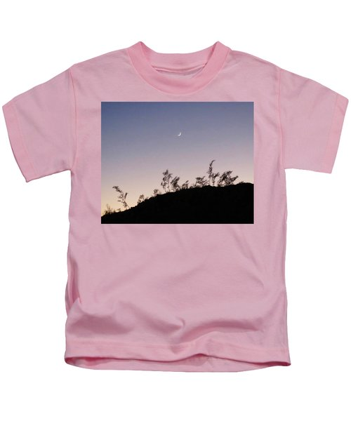 Kids T-Shirt featuring the photograph Libra Twilight Crescent by Judy Kennedy