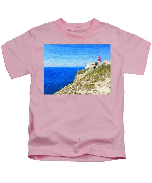 Lighthouse On Top Of A Cliff Overlooking The Blue Ocean On A Sunny Day, Painted In Oil On Canvas. Kids T-Shirt