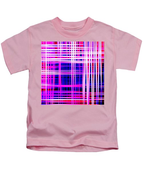 lines and squares in purple Color Waves - PL414 Kids T-Shirt
