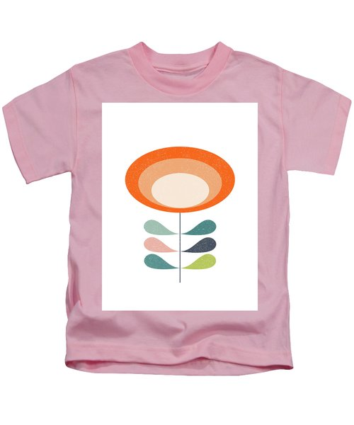 Mid Century Modern Orange Flower  Kids T-Shirt