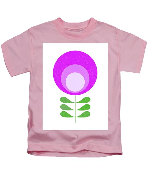 Mid Century Modern Purple Flower 3 Kids T-Shirt
