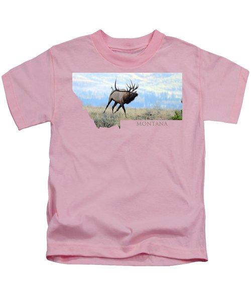Montana Bull Elk Kids T-Shirt