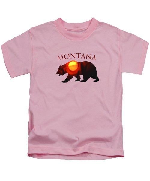 Montana Sunrise Grizzly Bear Kids T-Shirt