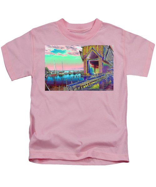 Morning Pink Marquette Ore Dock Kids T-Shirt