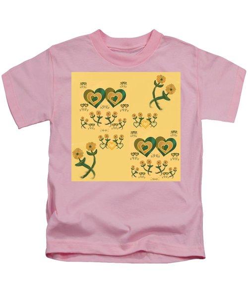 Multiple Tilted Hearts Bronze II Kids T-Shirt