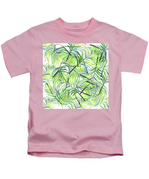 Palm Leaf Pattern 1 - Tropical Leaf Pattern - Green, White - Tropical, Botanical Pattern Design Kids T-Shirt