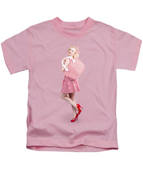 Pin Up Girl Wearing Stripped Red Dress Holding Bag Kids T-Shirt