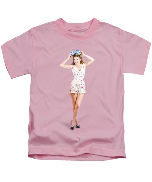 Pin-up Lady Playing With Hairstyle Accessory Kids T-Shirt