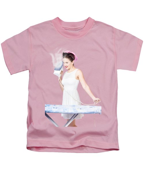 Pin Up Woman Providing Steam Clean Ironing Service Kids T-Shirt