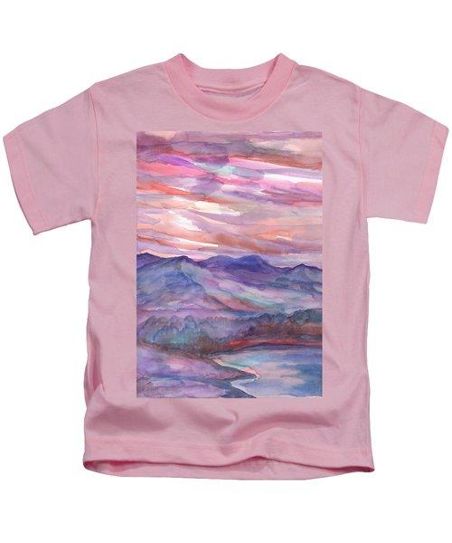 Pink Mountain Landscape Kids T-Shirt