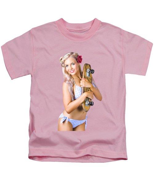 Pinup Woman In Bikini Holding Skateboard Kids T-Shirt