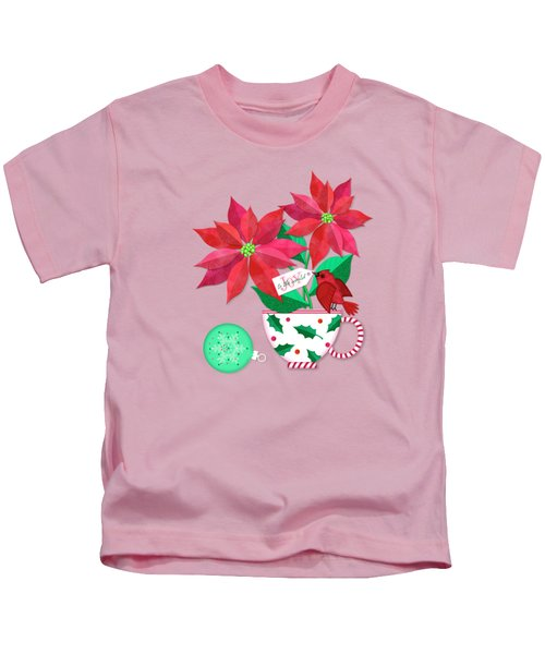 Poinsettia In Christmas Cup Kids T-Shirt