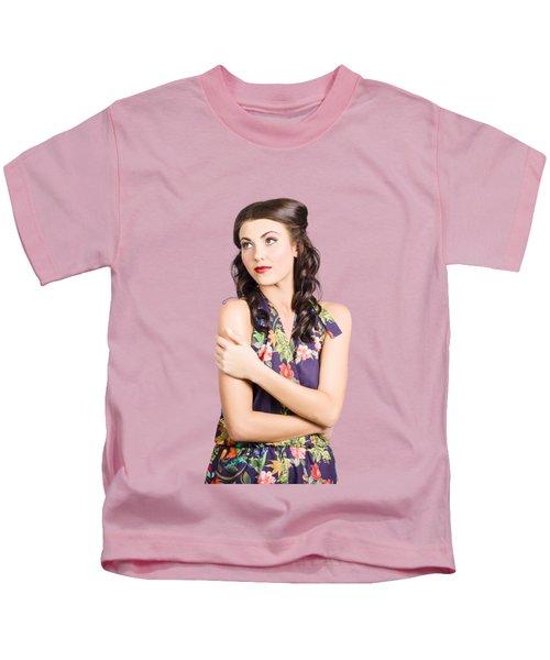 Portrait Of Beautiful Female Fashion Model Kids T-Shirt